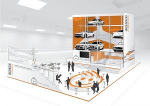 Klaus Multiparking präsentiert an seinem Stand in Halle C3 das vollautomatische Parksystem MasterVario.