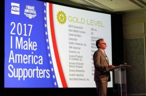 Bob Crain of AGCO Corp., AEM Government & Public Affairs Committee chair, announces the AEM 2017 I Make America advocacy award winners at the recent AEM annual conference.