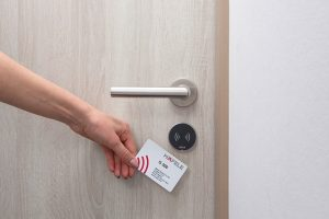 An individually encoded key card for the Häfele Dialock identification and locking system is the magical means giving the guests access to their temporary home.