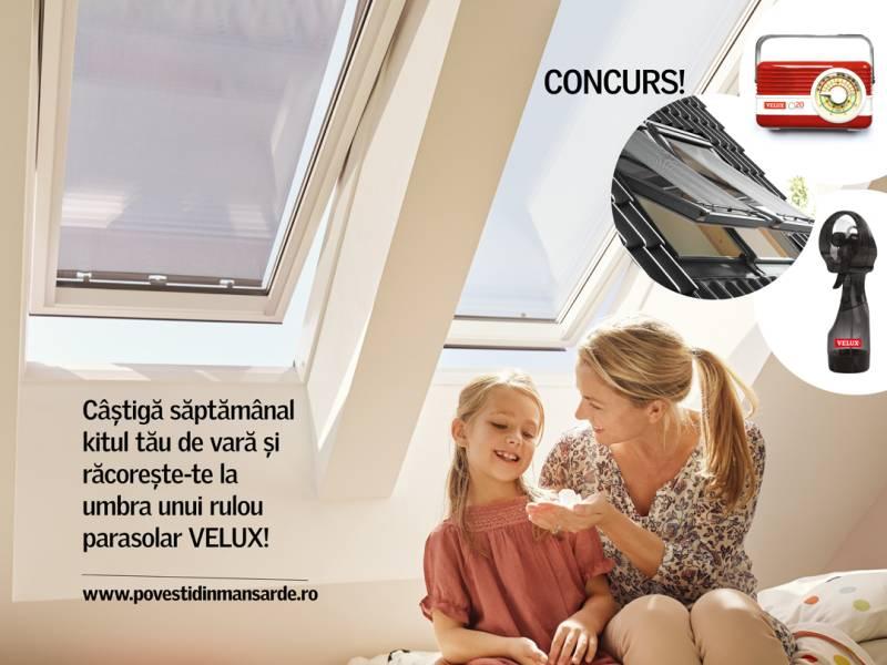 Răcorește-te la umbra unui rulou parasolar VELUX, care scade temperatura cu până la 5 grade C în mansardă!