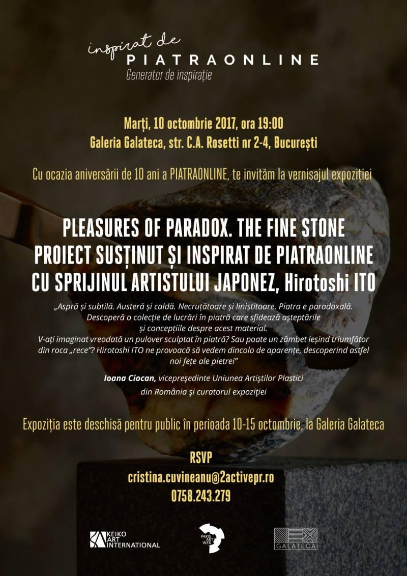 Artistul japonez Hirotoshi Ito prezintă expoziția Pleasures of Paradox. The Fine Stone la Galeria Galateca, proiect susţinut de PIATRAONLINE