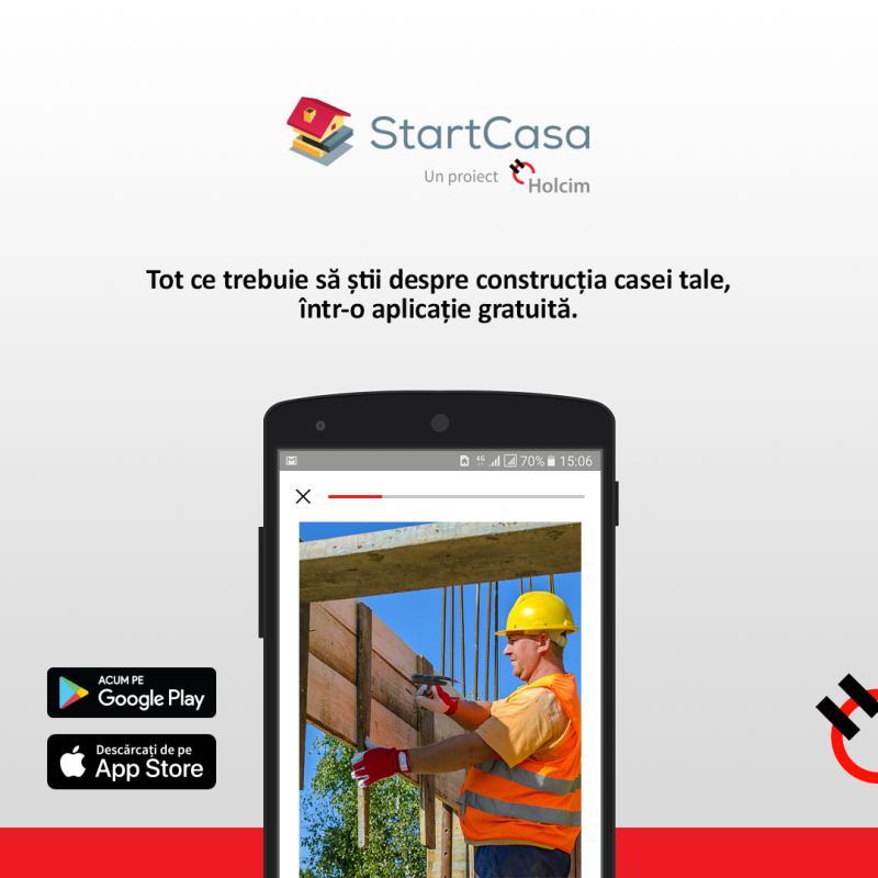 StartCasa – aplicația de mobil dezvoltată de Holcim România pentru viitorii proprietari de case – este acum disponibilă și pe iOS