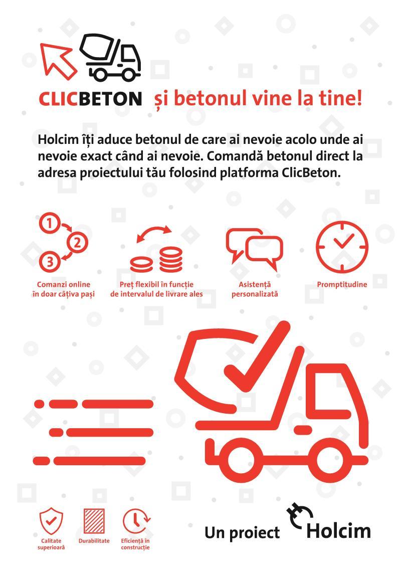 Holcim România lansează Clicbeton.ro, prima platformă online prin care poți comanda beton