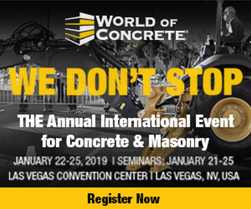 WORLD OF CONCRETE ANNOUNCES LARGEST SPACE DRAW IN TEN YEARS
